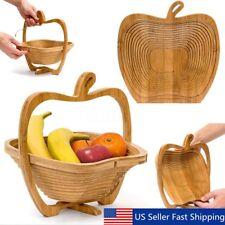 Collapsible Apple Shaped Bamboo Basket Kitchen Fruit Storage Centerpiece Decor
