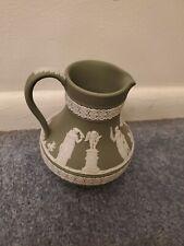 """Wedgwood Jasperware Etruscan Jug Vintage, Sage Green 4.5"""" Perfect"""