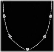 1.27 ct Round Diamond By The Yard Platinum Gold Necklace 5 x 0.25 ct each, F VS