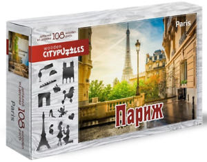 """puzzle Jigsaw 108 wooden Pieces """"Paris"""" New russian"""