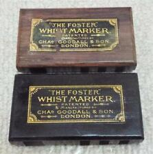 More details for the foster whist markers pair of antique 1880 wooden charles goodall scorers