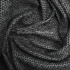 10 Metres Of Soft Plain Chenille Woven Jacquard Textured Upholstery Fabric Black