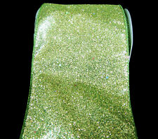 """Diamond Dust Sparkly Glitter Christmas Holiday Wide Wired Ribbon 4""""W"""