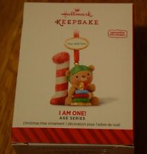 Hallmark 2014 I Am One Age Series Ornament New Personalize with Year Teddy Bear