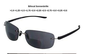 Leichte randlose bifokale Lesesonnenbrille UV-Sonnenschutz grau +1.0 bis +3.5