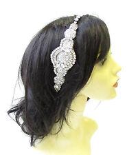 Silver Ivory Pearl Diamante Headpiece Headband Bridal Wedding Rhinestone 2151