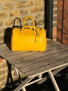 100% Italian Leather Barrel Bag with Shoulder Strap Yellow