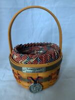 Longaberger 1997 Inaugural Basket with Old Glory Fabric Liner Protector & Tie-on