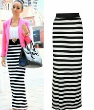 New Womens Stripe Black White Maxi Long Summer Jersey Casual Skirt