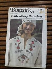 UNCUT BUTTERICK 4106 Ethnic Embroidery Transfers PATTERN