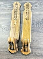 "2 Vintage Wood Wooden Wheat Pattern Candlestick Holders Wall Sconces 17.75"" H"