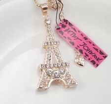 Betsey Johnson Necklace EIFFEL TOWER PARIS WORLD LOVE  Gold Crystal