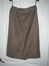 RIDDELLA BROWN CHECK SKIRT PURE NEW WOOL, SIZE 14