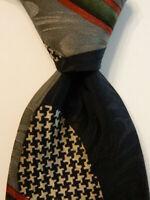 Men's Designer 100% Silk Necktie USA Geometric Multi-Colored EUC