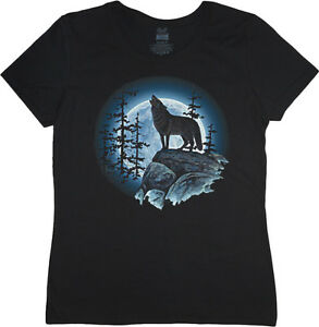 Ladies t-shirt lone wolf howling at the moon women's size tee shirt top