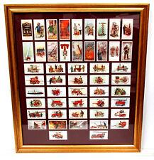 Original 1930 FIREMAN FIREFIGHTING APPARATUS Framed Vintage Trade Cards FULL SET