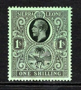 Sierra Leone KGV 1921-27 (Wmk Script) 1s. Black/Emerald SG143 M/Mint