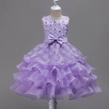 Wedding Flower Girl Bridesmaid Ruffles Lace Purple Cute Bow Evening Dress Size 3