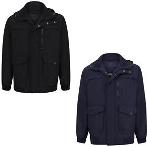 Mens Waterproof Fleece Lined Hooded Jacket Full Zip Collared Warm Winter Coat