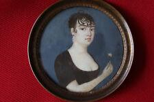 Miniatur Biedermeier um 1815 Portrait einer jungen Dame mit Rose