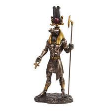 "11"" H Egyptian Deity Military Prowess Sobek w Ankh Statue Figurine Crocodile"
