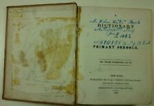 1834 Noah Webster DICTIONARY for PRIMARY SCHOOLS