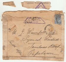 CGH: Fragile EDVII Censored Cover; London to Cape Town, 1 April 1902