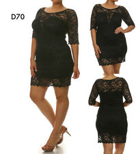 D70 Womens Size 14/16 Black 3/4 Sleeves Lace Bodycon Stretch Party Dress Plus