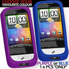 HTC LEGEND G6 SOFT SILICONE RUBBER GUARD PURPLE〓BLUE PROTECTOR COVER CASE STYLUS