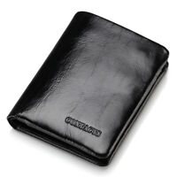 Mens Genuine Leather Wallet Cowhide Bifold Trifold Pocket Purse Cash Card Holder