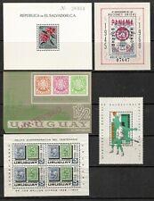 1960-72 Ss Sheets Panama #C244, Salvador #718, Uruguay #834, C309A, C318, Cat$20