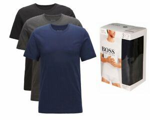 Hugo Boss RN 3 Piece 50325887 497 Mens Crew Neck T-Shirt Black Grey Navy