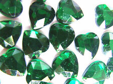 20 Green Faceted Love Heart Beads 16 mm Acrylic Rhinestones/Gems Stitch On