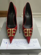 BALENCIAGA BB D'Orsay Red Patent Leather Pumps size 38