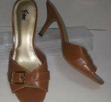 Fioni Sandal Heels Womens Buckle 7.5 Slide On Brown Tan Nude dress shoe SB-1