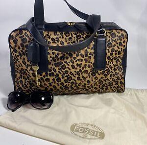 FOSSIL Memoir Biography Haircalf Satchel Cheetah/Leather