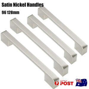 Kitchen Cabinet Handles Satin Nickel Square Door Pulls Cupboard Drawer 96 128 mm