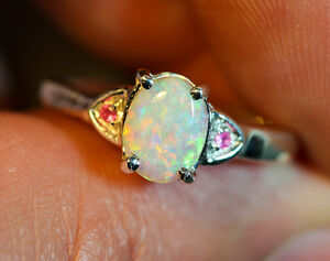 Solid Lightning Ridge Crystal Opal 925 Sterling Silver Ring Size 6.5 COPR001