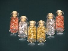 24 MINI GLASS BOTTLES Of Gold/Silver/Copper Flakes