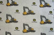 John Deere Construction Excavator Digging Machinery on Cotton Fabric By The Yard