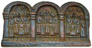 Antique Coptic Christian Carved Wood Panel The Last Supper Jesus Disciples Gothi