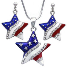 4th of July USA American Flag Star Necklace Dangle Post Earrings Silver-tone Set