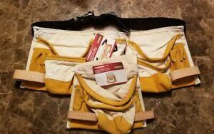 HUSKY 11 Pocket Canvas Apron/Tool Belt + 8 Pocket Canvas Pouch Tool Belt Add on