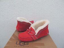 UGG POLER LIPSTICK RED SHEEPSKIN CUFF MOCCASIN SLIPPERS, US 5/ EUR 36 ~NEW