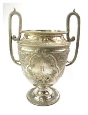 Antique 19th century Victorian silver plate two handled flower vase urn