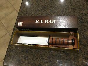 KA-BAR USMC FIGHTING KNIFE Model 1217 Marine Fixed Blade Knife w/ Box