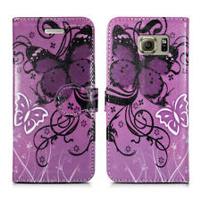Buy 1 Get 1 Leather Wallet Flip Book Style Phone Case Cover for LG Stylus 2 Purple Butterfly - Lilac White Butterfies Flower