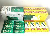 10 BOOKLETS RIZLA GREEN ROLLING PAPERS & 4 BOXES SWAN EXTRA SLIM FILTER TIPS