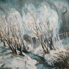 Expressionist winter landscape oil painting signed