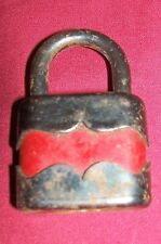 Old Red Black Padlock Vintage Lock Collectible Collector Gate Chest Unique Rare